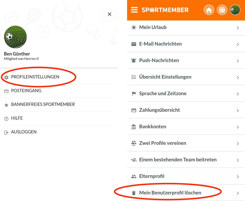 SportMember.ch - Wie lösche ich mein SportMember Profil?